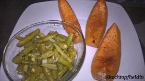 Kürbisspalten mit Bohnensalat